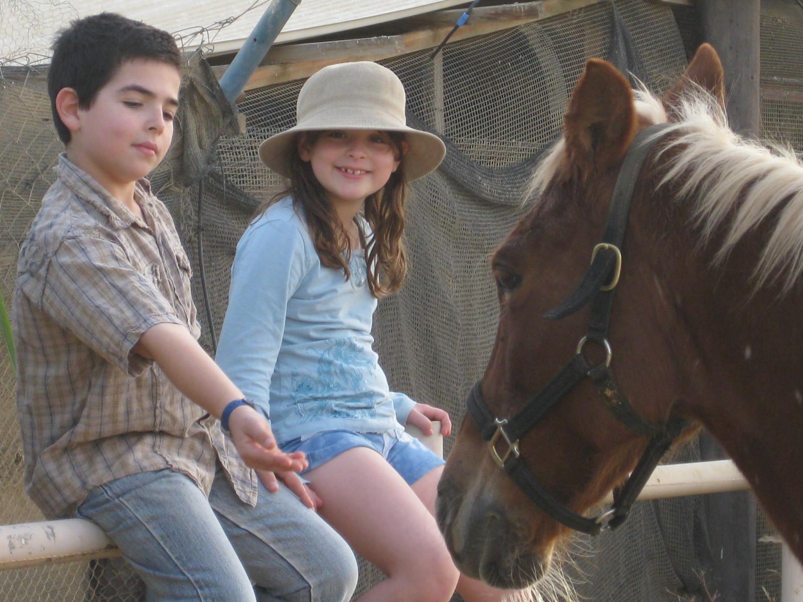 נעם ולירי מלטפים סוס